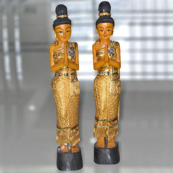 东南亚风情泰式风格 泰国 家居手 工艺  品 木雕 站佛 佛像